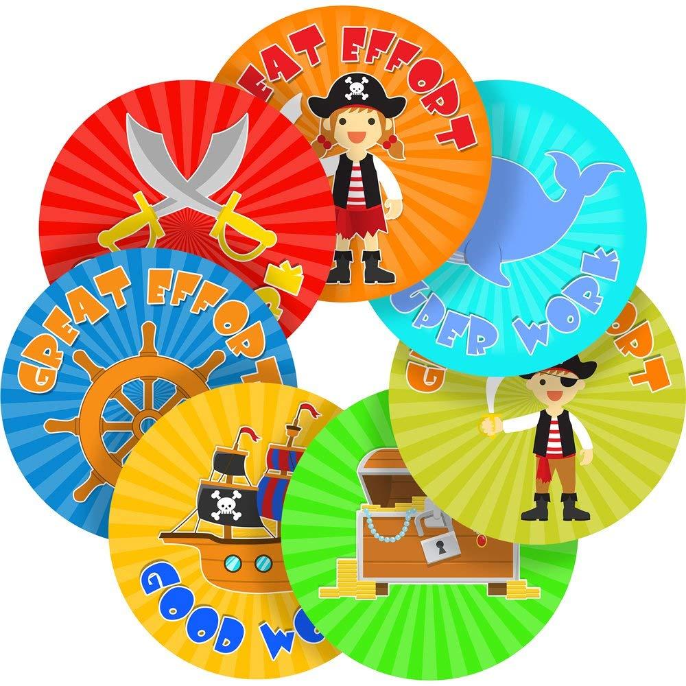 "Pirate Reward Sticker Labels, 70 Stickers @ 1"" inch, Glossy Photo Quality, Ideal for Children Parents Teachers Schools Doctors Nurses Opticians"