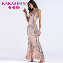 Party sequin mermaid sexy evening gown women form maxi dress formal