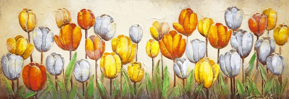 Single Panel Bright Flower tulip 3D Sculpture Handmade Oil Painting Beautiful on Canvas Home Decor Wall Art Crafts Wide RA0307