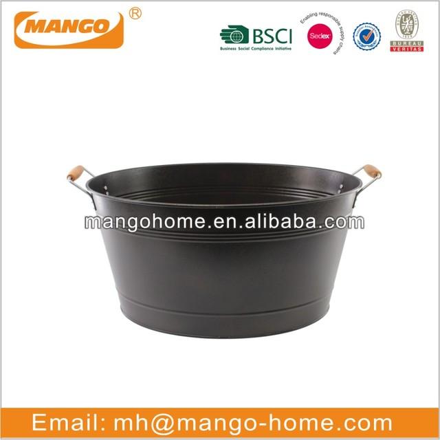 large black galvanized metal beer bucket