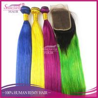 Bright color straight bundles all style color wave ombre human brazilian weave hair weave for african americans women
