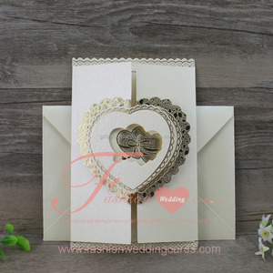 New Pop Up Folding Heart Embossing Kerala Wedding Cards