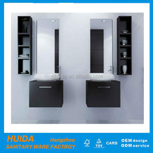 small black hangzhou factory provide PVC bathroom cabinet with side cabinet
