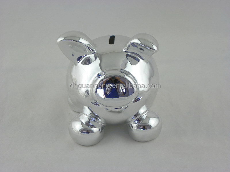 Factory directly silver plated wholesale piggy bank