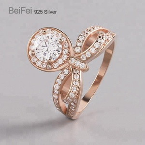 Latest design white diamond 925 sterling silver CZ designer rings rose gole jewelry for ladies