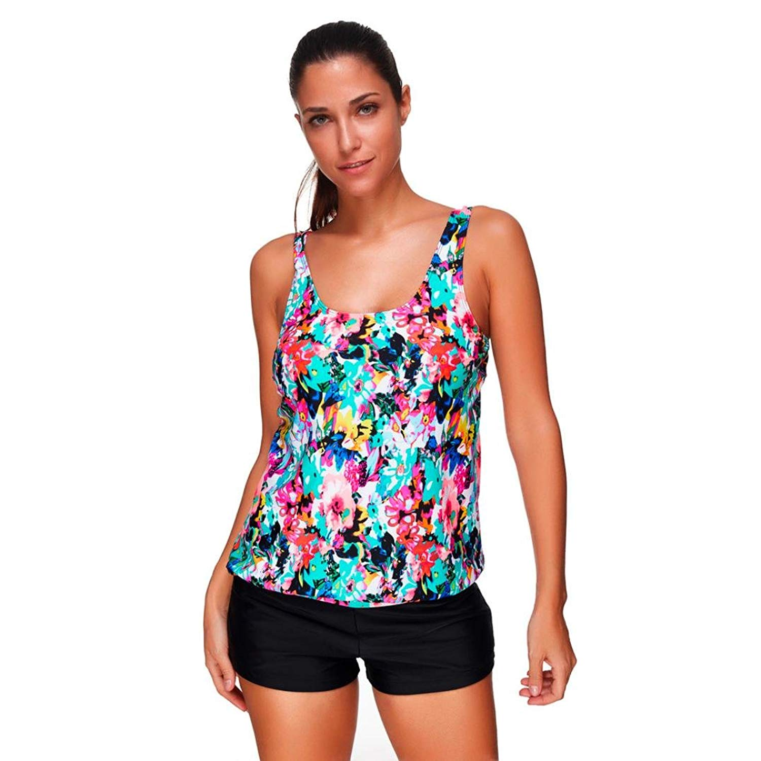 612b22bcde40d Get Quotations · Auwer Women Tankini Sets With Boy Shorts Ladies Swimwear  Two Piece Swimsuits
