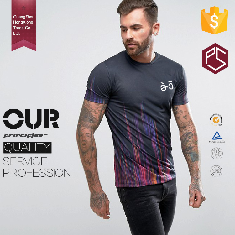 Hongxiong clothing factory round neck short sleeve 100% polyester sublimation print focus t shirts