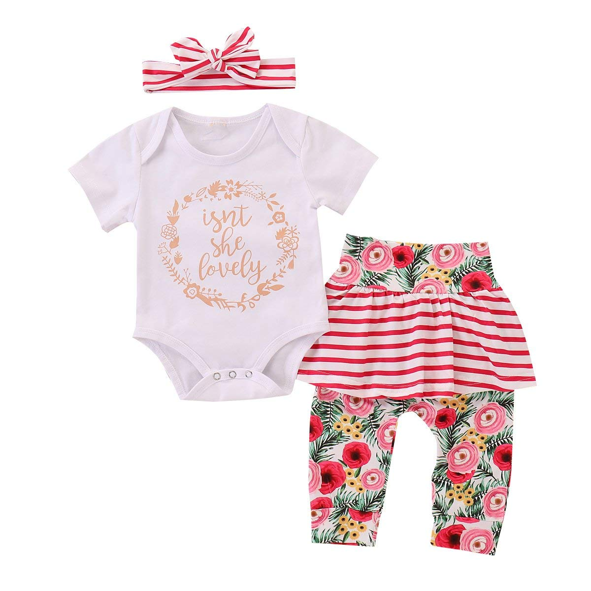 puseky Newborn Baby Girl Cotton Romper+Floral Striped Skirt Leggings+Headband Outfits