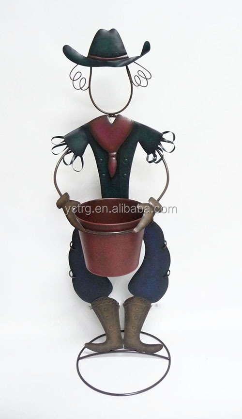 garden metal cowgirl/cowboy planters stand