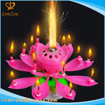 Unique Birthday Candles Beautiful Lotus Flower Design Happy Candle