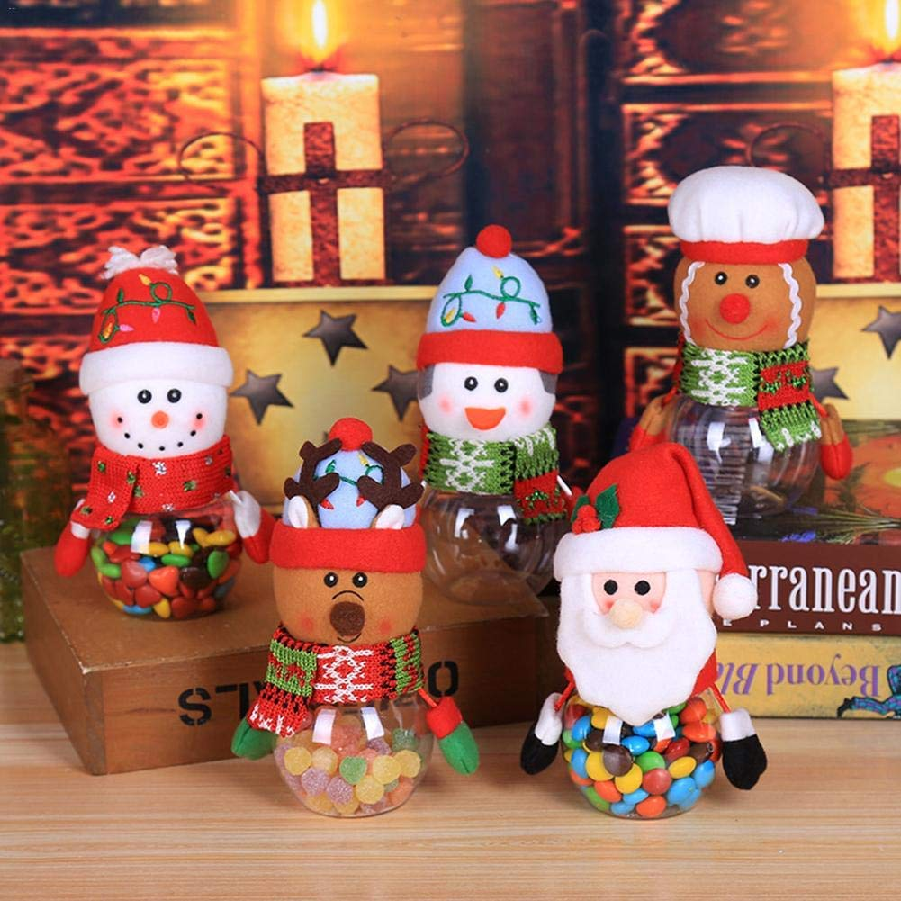 HATABO Christmas Girlands Snowman Chrismas Christmas Decorations Christmas Plastic Candy Cans Old Snowman Penguin Transparent Gift Boxes Elk Decoration Children Gifts (Random)
