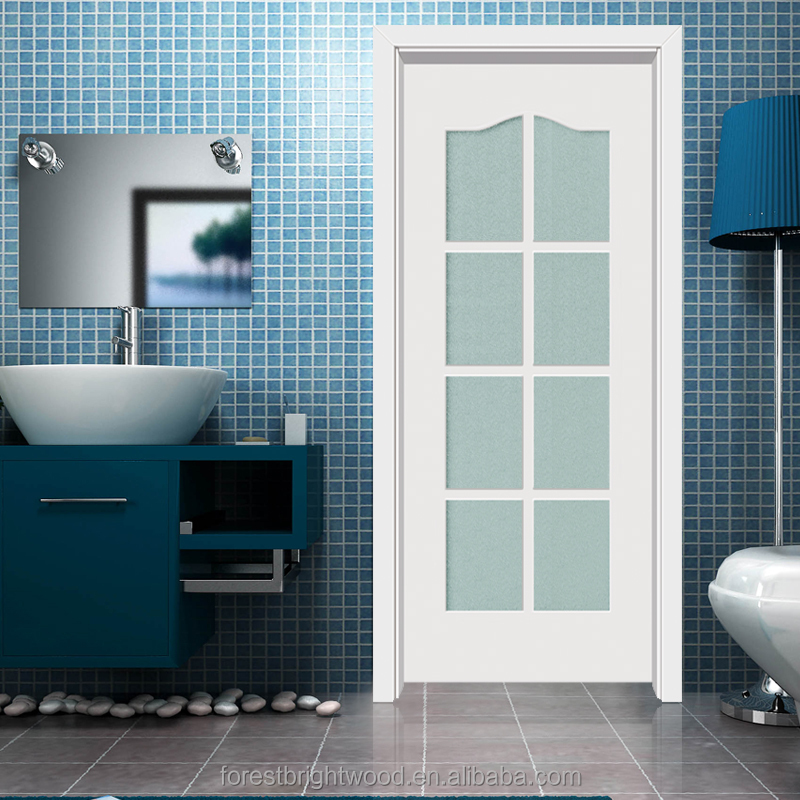 Interior Bathroom Double Doors: Interior White Powder Room Wood Door With 8 Frosted Glass