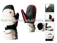 Men winter leather ski gloves