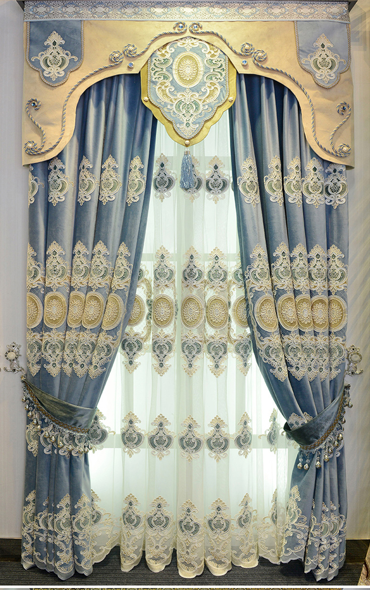Chinese Style Sticky Crystal Embroidered Curtains And Drapes Sheer Embroidered  Curtains