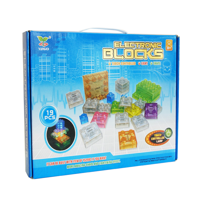 YSGO 19PCS Electronic Blocks with Light DIY Kits Integrated Building Blocks Science Toys for Kids Early Education