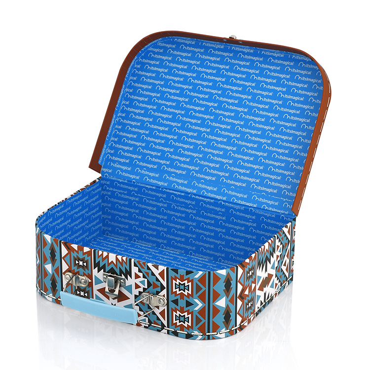 Custom Cheap Cute Various patterns and colors of cardboard kids paper box mini suitcase