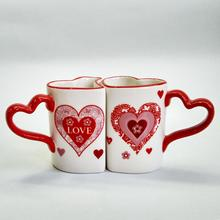 Valentine Gifts Custom Printed Heart Shaped Coffee Couple cups set Mug