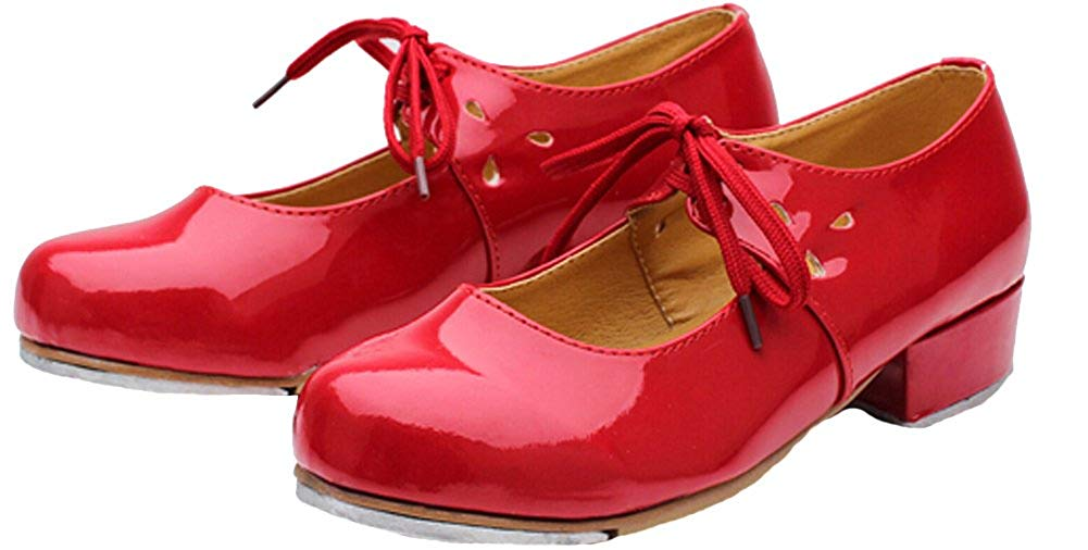 HW-GOODS Girls PU Silver Bowknot Low-Heeled Tap Shoes Dance Shoes Little Kid//Big Kid