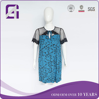 AGA0269 new arrival rayon elastic printed design lace formal dress for plus size women
