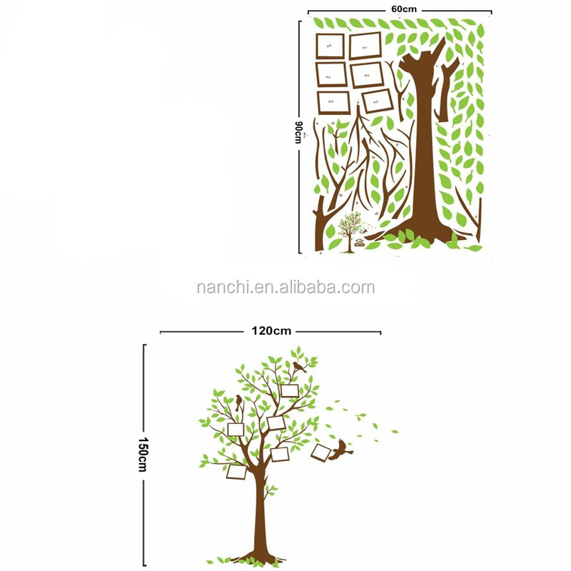 Popular for kids green tree photo frame wall stickers for bedroom living room kids room wallpaper diy home adesivo de parede