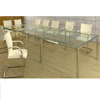 Elegant design tempered glass top combination meeting table conference desk with stainless steel legs