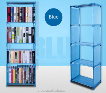 DIY Modern Portable Non Woven Kids Plastic Bookshelf Bookcase Storage Cabinet