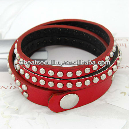 Cool Punk Rock Rivet Multi Layers Circles Stud Chain Leather Cuff Bracelet 11-11041642