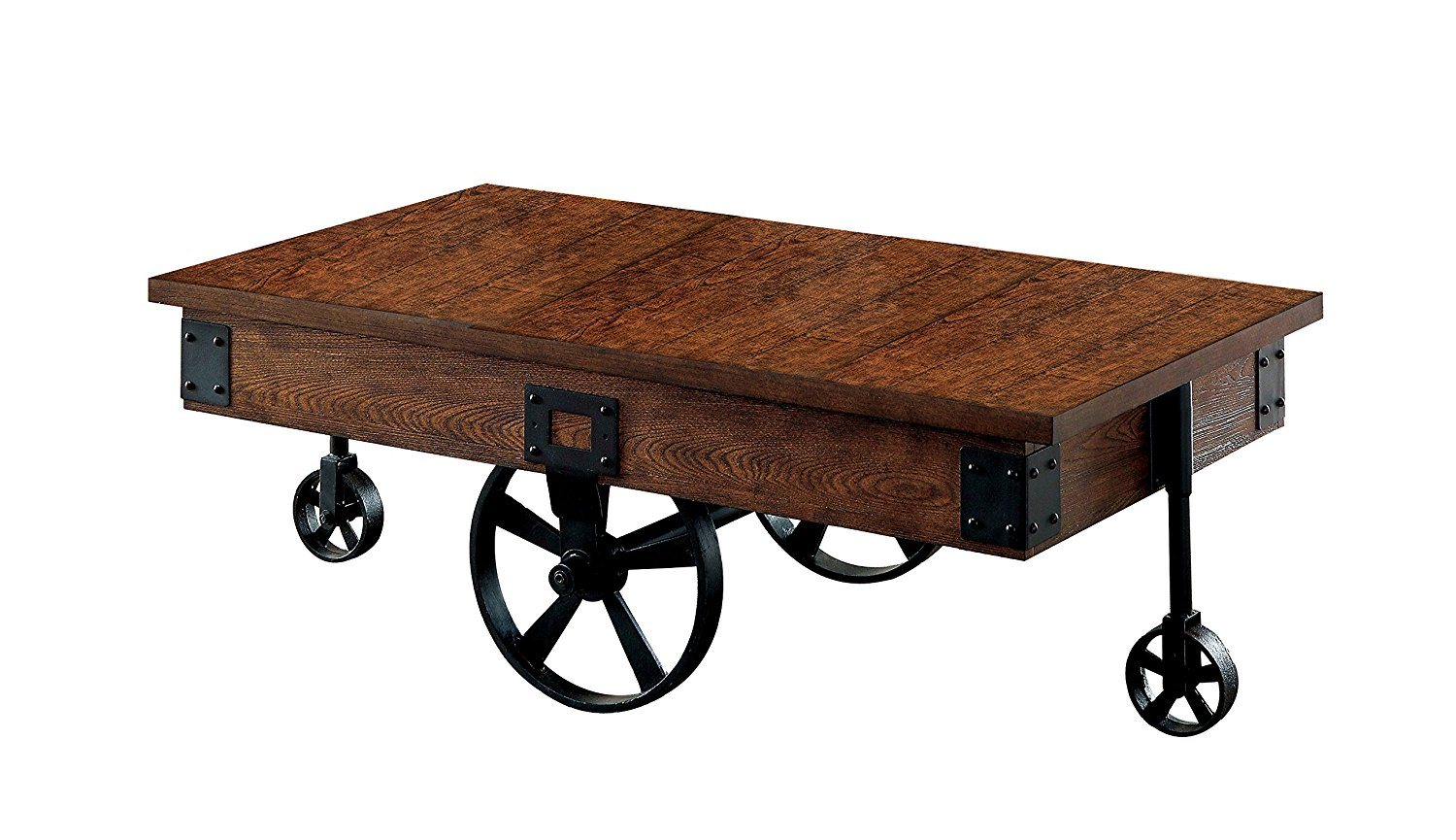 Get Quotations · 247SHOPATHOME Augustina Medium Weathered Oak Finish Caster  Wheel Coffee Table