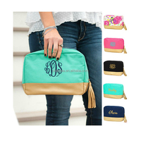 New Design Zipper Canvas Monogrammed Makeup Pouch