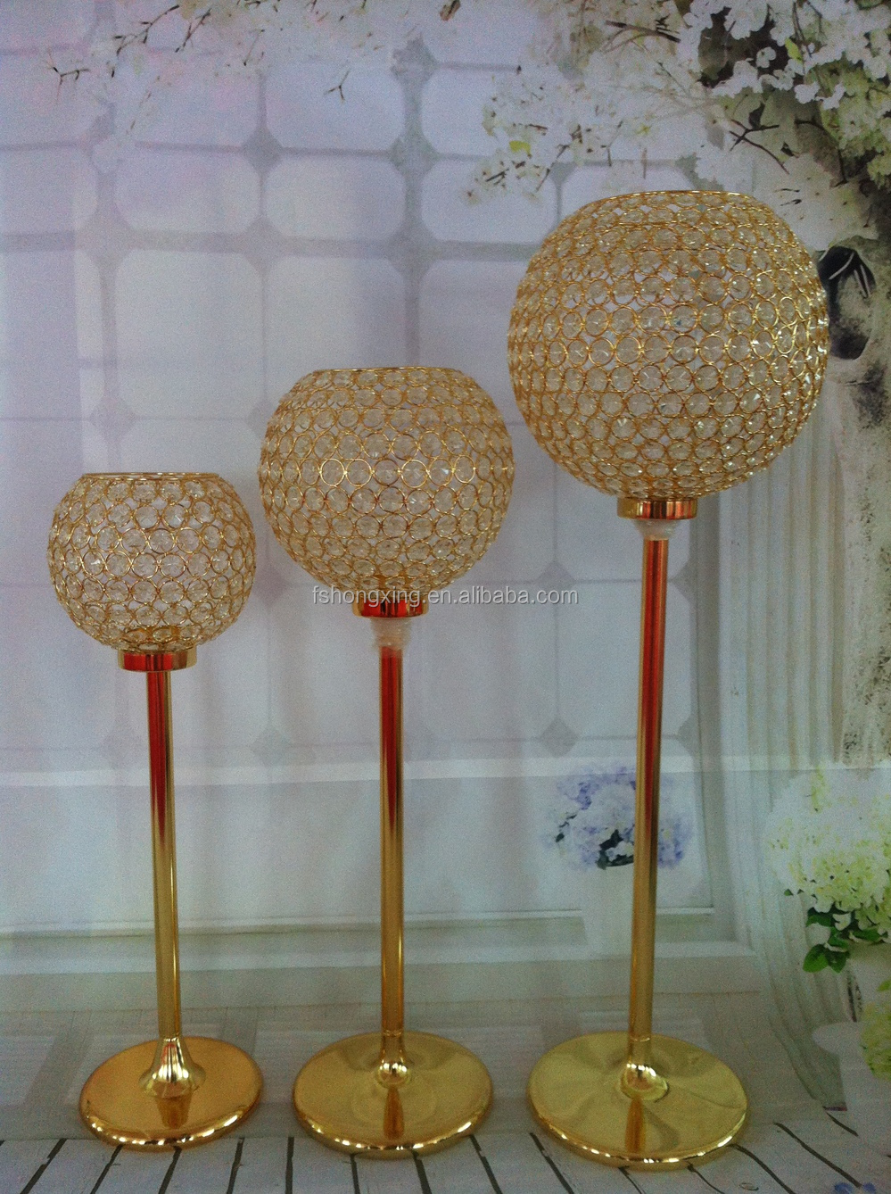Tall Crystal Globe Candles Holder Wedding Candelabra On Gold