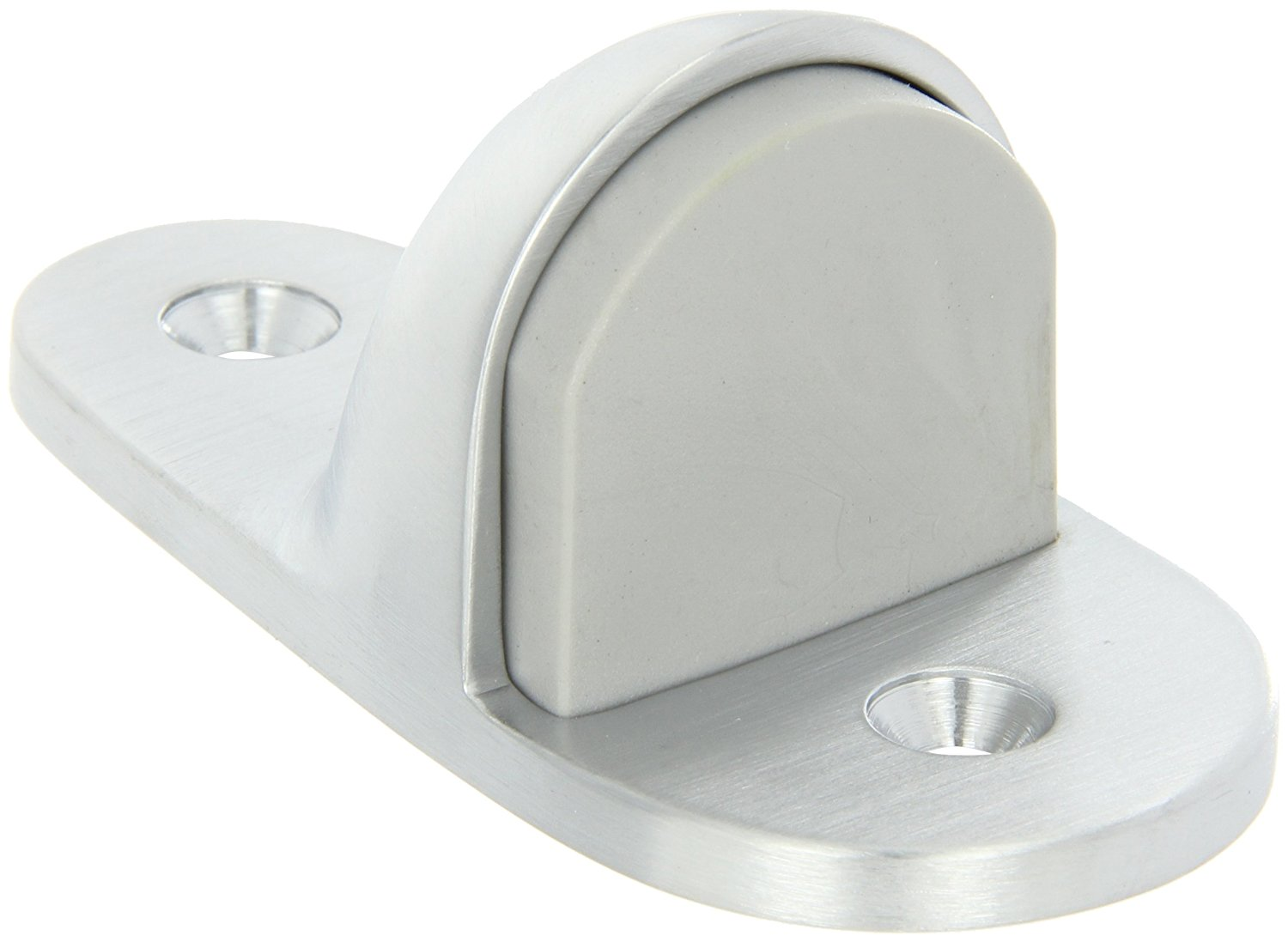 "Rockwood 445H.26D Brass Heavy Duty Door Stop, #12 X 1-1/2"" FH SMS Fastener with Plastic Anchor and 2-24 x 1"" FH MS Fastener with Lead Anchor, 2"" Base Width x 4"" Base Length, 1-11/16"" Height, Satin Chrome Plated Finish"