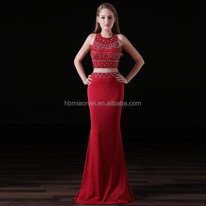c2bdebcceef 2 pcs ensemble sirène robe de soirée perlée lourde sexy fille rouge couleur demoiselle  d