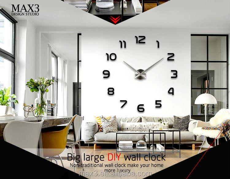 12s002s max3 diy modern design 3d decorative wall clock big wall clocks for sale