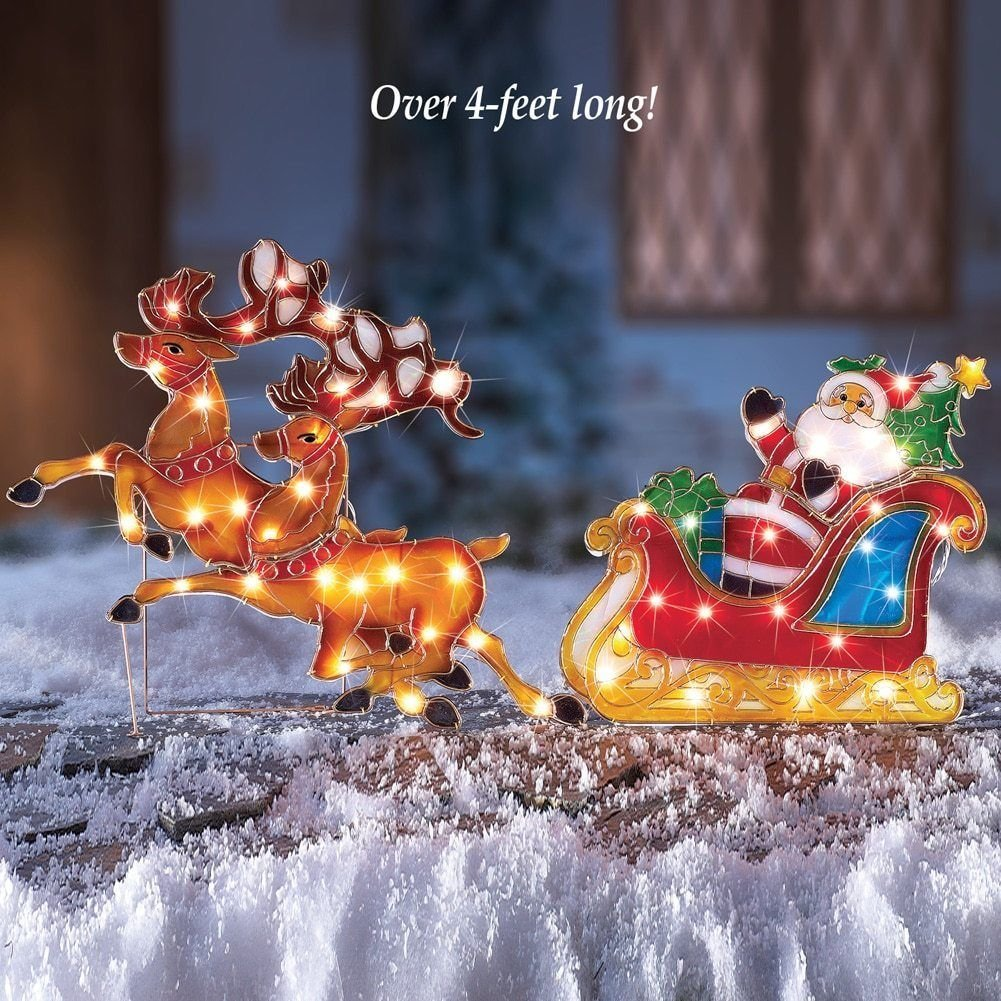 get quotations bestbuystore us 4 feet long huge lighted santa claus on sleigh ride outdoor christmas decoration - Outdoor Christmas Sleigh Decorations