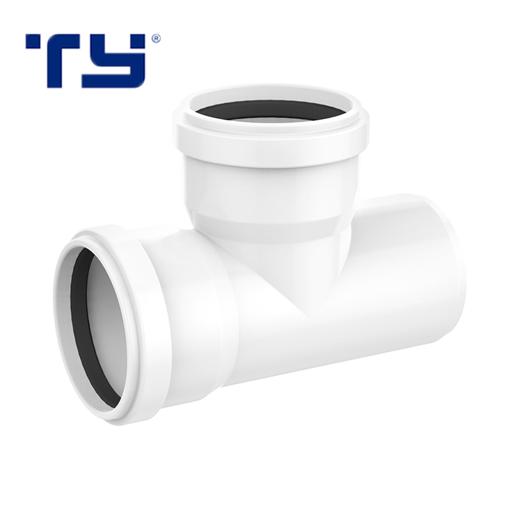 Manufacturer DIN Standard Pipe Fitting PVC Equal Tee Joint PVC For Water Drainage,Equal Diameter Flared Tee