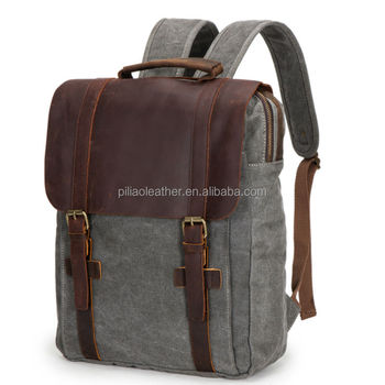 a4666148e960 16oz Canvas Vintage 17 Inch Laptop Travelling Backpack With Leather Trim -  Buy 17 Inch Laptop Backpack,Travelling Backpack,Laptop Backpack Product on  ...