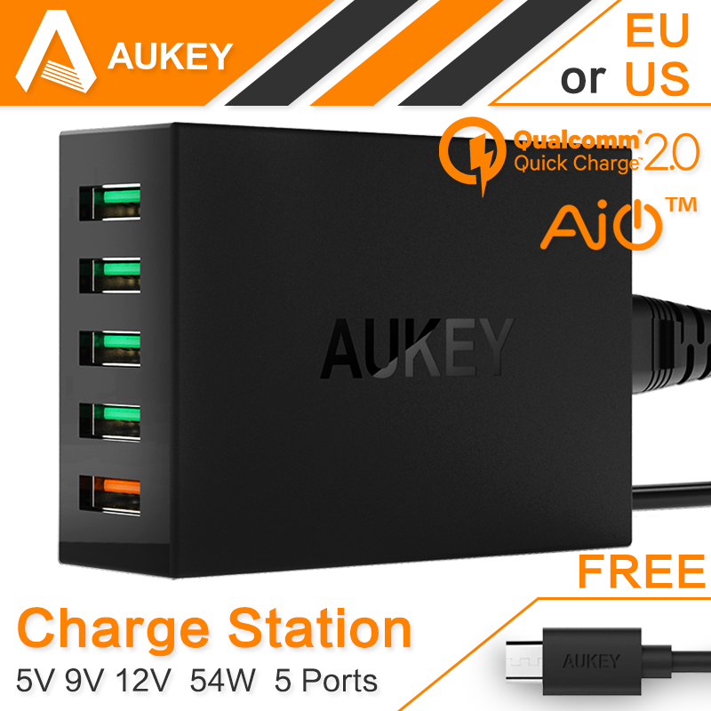 Aukey 54W 5 Ports USB Wall Charger (AIPower 5V/7.2A+Quick Charge 12V/1.5A 9V/2A 5V/2A; Included an 20AWG 3.3FT Micro USB Cable)