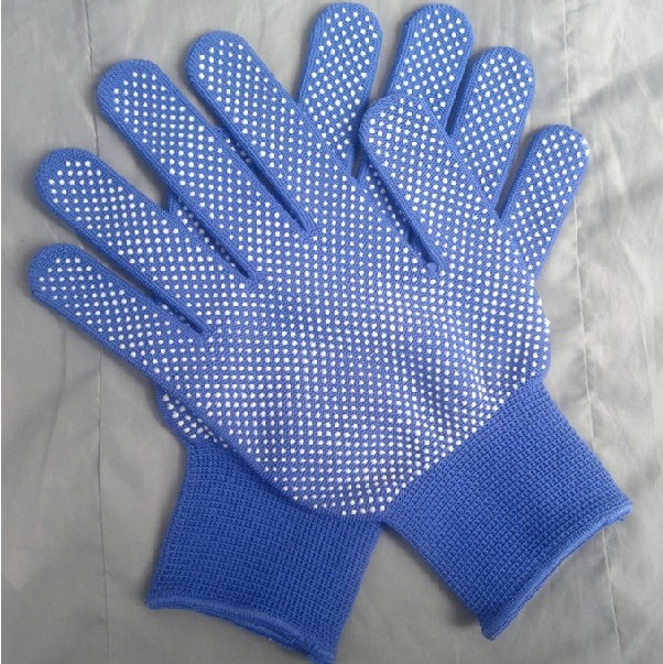 factory wholesale cheap price palm fingers palm PVC dots 4 thread knitted gloves with pigment
