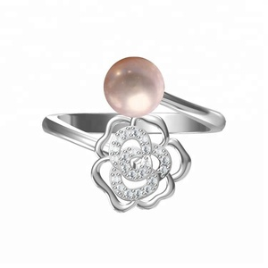 rose flower pearl mount S925 jewelry adjustable ring