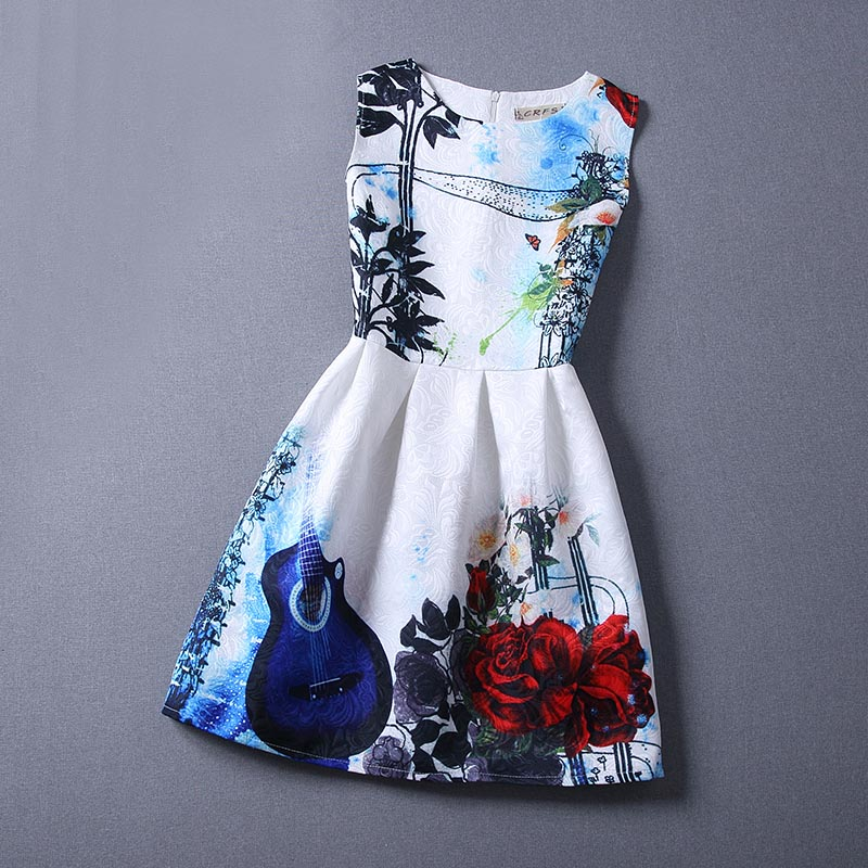 Summer Dress 2016 Dresses For Girls of 12 years Sleeveless Printed Flower Big Size Princess Dress