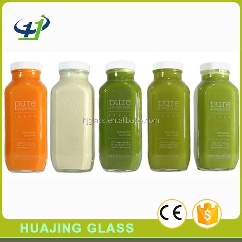 glass square beverage bottle 450ml 500ml 16oz cold pressed juice bottles with lid