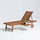 Outdoor Garden Daybed Wooden Lounger Adjustable beach lounge chair