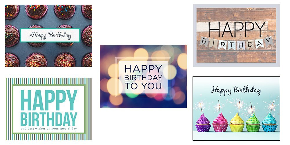 Birthday Greeting Card Assortment - VP1603. Business Greeting Cards Featuring Five Different Birthday Cards. Box Set Has 25 Greeting Cards and 26 Bright White Envelopes.