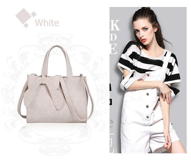 Fashion PU Leather Handbag Ladies Tote Bag with Fancy Bowknot