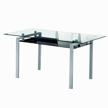 Modern Design Metal Frame Dining Table With Glass Inlay On Table