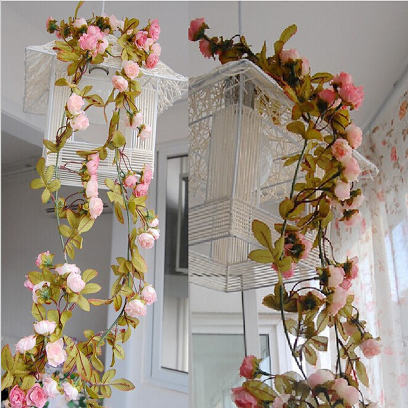 Wedding-decoration-Artificial-Fake-Silk-Rose-Flower-Vine
