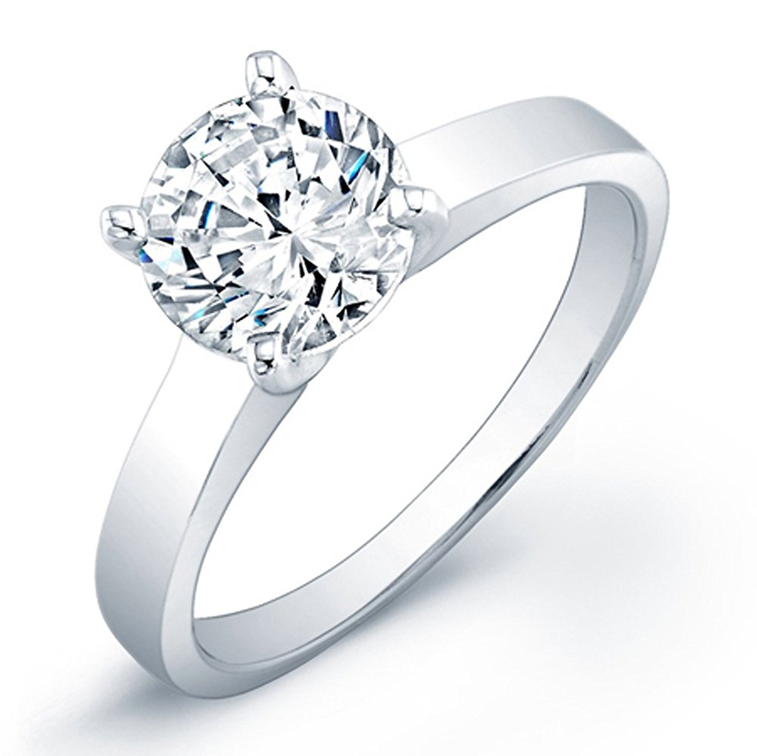 925 Sterling Silver Solitaire Ring 2.00 Carat 7mm Round Designer Inspired Solitaire. 4 Prong Setting