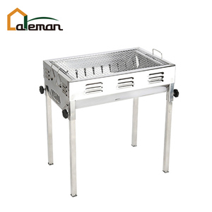 Medium-sized Stainless Steel Japanese Charcoal Barbecue Grill, Inox Rectangle BBQ Grill w/Grill Pan and Tongs OEM Order Accepted