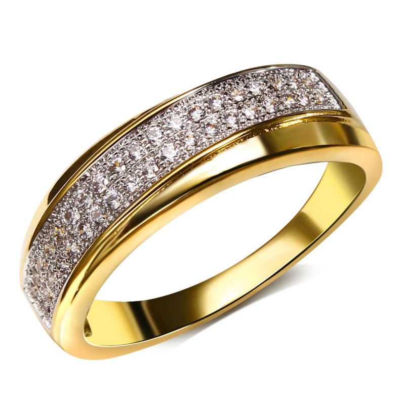 Get Quotations Women S 2 Layers Overlap Round Cz Rings Lead Free Cubic Zirconia Setting 18k Gold Platinum