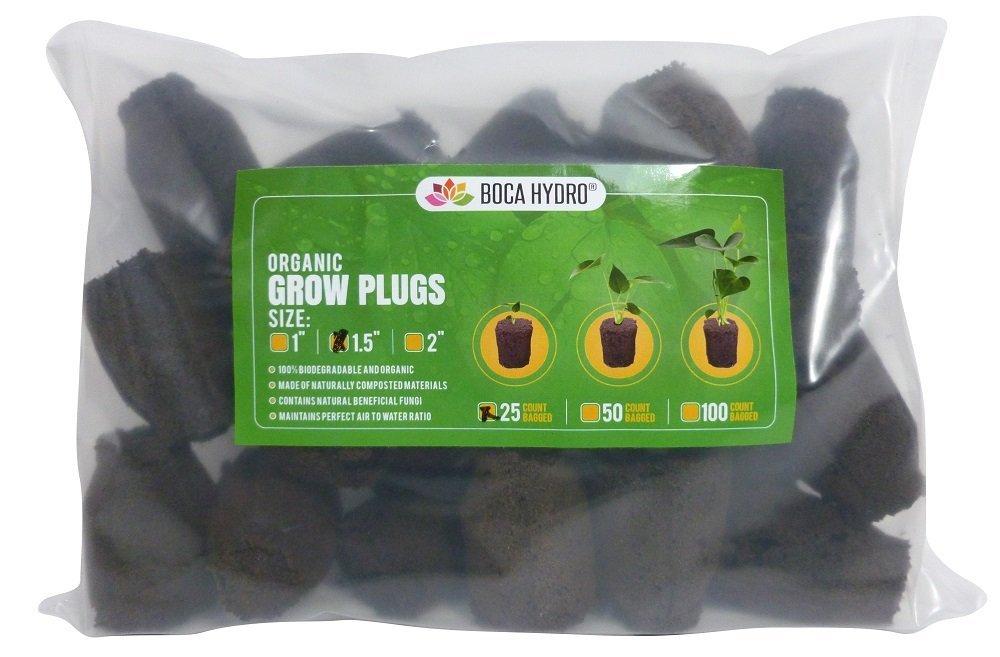 "Boca Hydro 1.5"" Organic Starter Plugs 25 Pack"